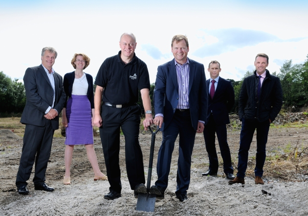 Cutting the sod at the new Baildon Business Park (L-R) Agent Richard Heslop of Dale Eddison, Bradford Councillor Susan Hinchcliffe, Anetic Aid's Andrew Curtin, Jeremy Ridyard from Produmax, Andrew Russell and Mark Taylforth of Pendle Russells